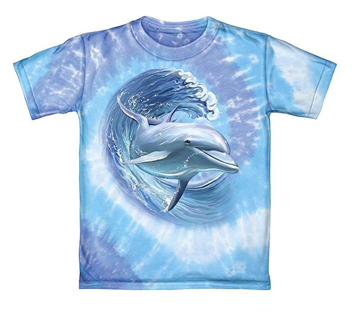 Dawhud Direct Dolphin Surfing Tie-Dye Adult Tee Shirt