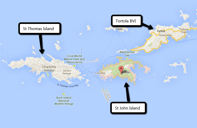 Ferry Routes in the Virgin Islands Map
