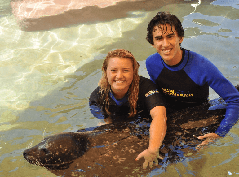 Young couple hold seals